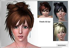 Sims 3 hairstyle, genetics, hair, medium