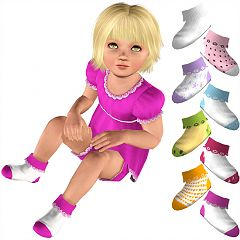 Sims 3 socks, shoes, girl, toddler