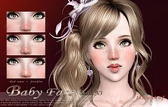 Sims 3 blush, baby face, makeup, female, costume makeup