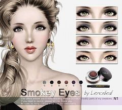 Sims 3 eyeshadow, smokey, makeup, female