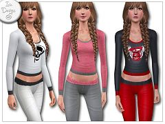 Sims 3 pajamas, clothing, top, leggins, fashion, teen