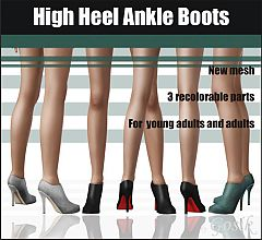 Sims 3 boots, high heel, ankle, shoes