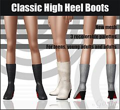 Sims 3 shoes, boots, high heel, female