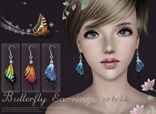 Sims 3 earrings, jewelry, accessories, female, peacock, butterfly