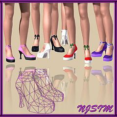 Sims 3 shoes, bow, platforms, dolly