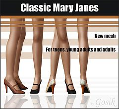 Sims 3 shoes, Mary Janes, designer, fashion, female