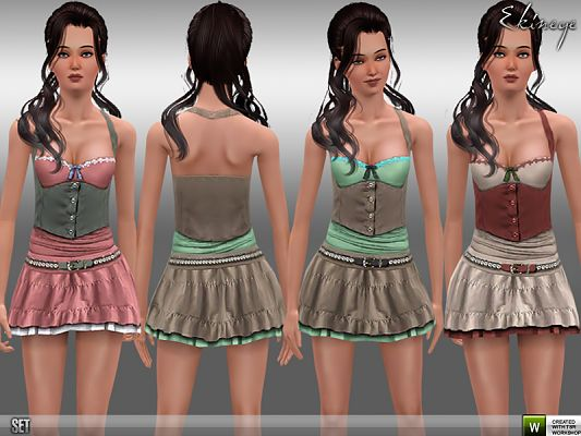 Sims 3 top, skirt, fashion, teen, female