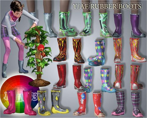 Sims 3 boots, rubber, shoes, female