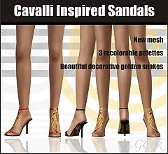 Sims 3 sandals, shoes, gold, designer, fashion