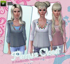Sims 3 embroidered, top, tunic,
