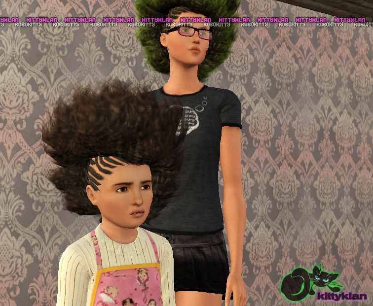 Fabulous Sims 3 Updates Kitty Klan Half Braided Afros Hair By Robbokitty Short Hairstyles For Black Women Fulllsitofus