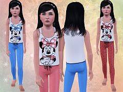 Sims 3 pyjama, top, pants, clothing, fashion, child