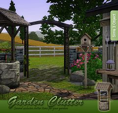 Sims 3 birdhouse, wall rack, wooden trellis arch, workbench, wishing well