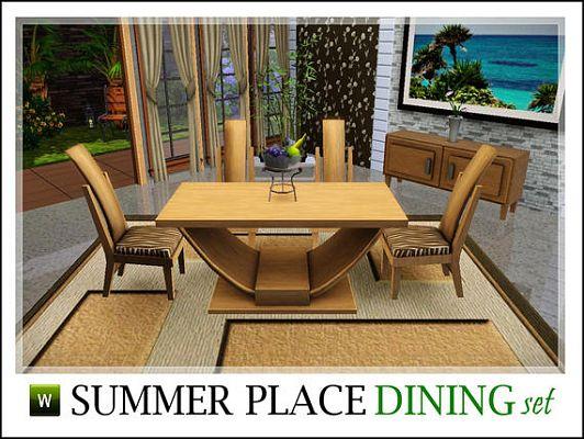 Sims 3 Dining Diningroom Furniture Set