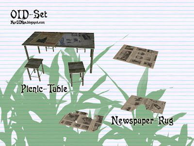 Sims 3 furniture, set, old, table, chair, newspaper