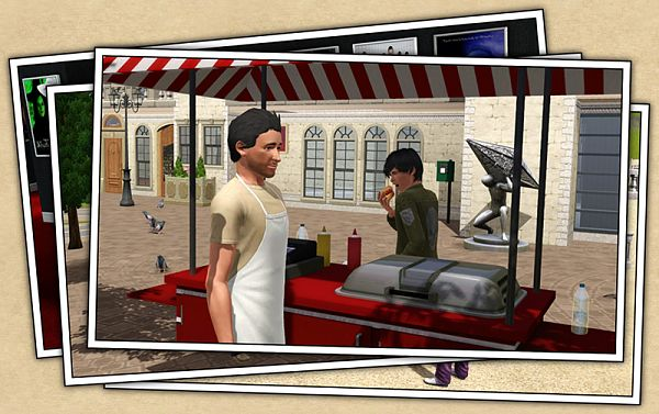 Sims 3 outdoor, food, cart