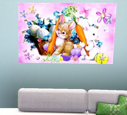 Sims 3 easter, paintings, decor, bunny