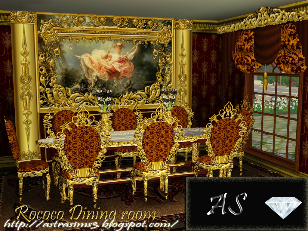 Sims 3 downloads from all over the world Custom Content Sites. Sims 3 Updates   Astra Sims 3  Rococo Dining room by Astra