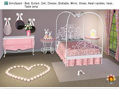 Sims 3 bedroom, bed, curtain, dresser, doll, table lamp
