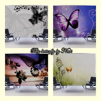 Sims 3 wall, stencils, decor, butterfly