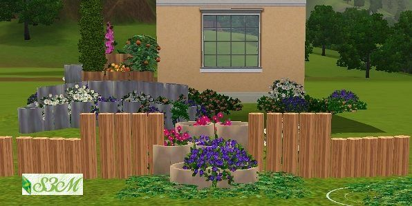 Sims 3 fence, pot, decor