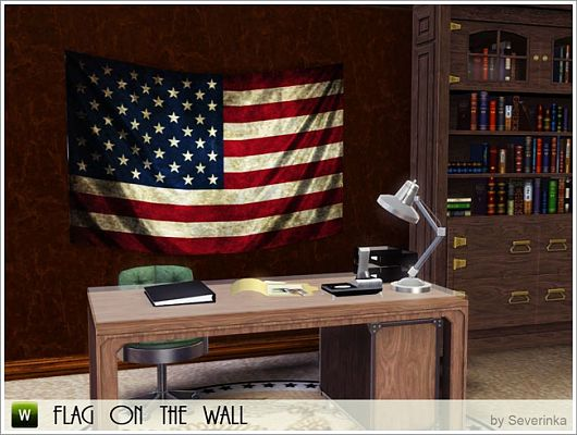 Sims 3 decor, decoration, objects, wall, flag