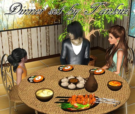 Sims 3 dinner, set, food, decor