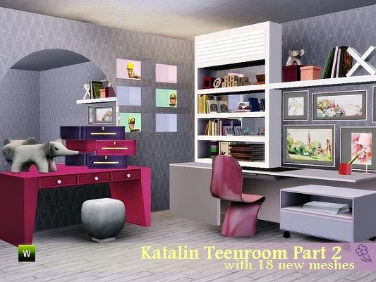 Sims 3 room, teenroom, study, furniture, set