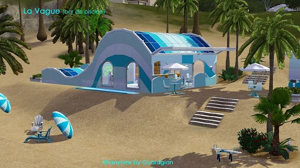 Sims 3 bar, beech, lot, community