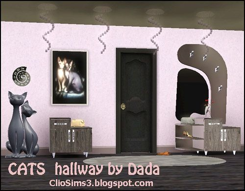 Sims 3 hall, furniture, set, cats
