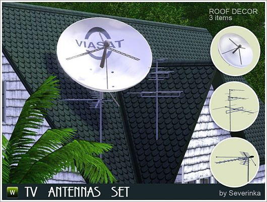 Sims 3 decor, antenna, roof