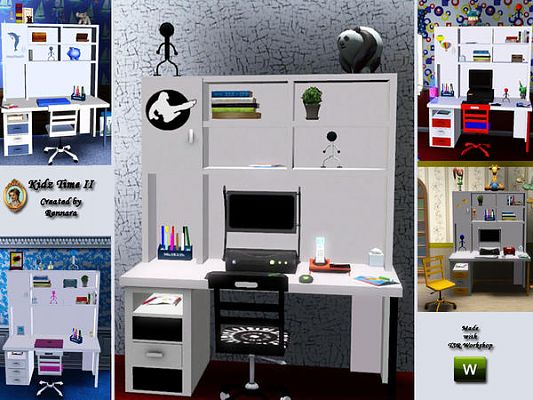 Sims 3 office, study, room, furniture