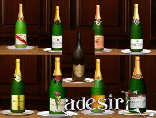 Sims 3 champagne, bottle, object