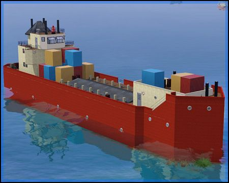 Sims 3 lot, community, cargo, ship