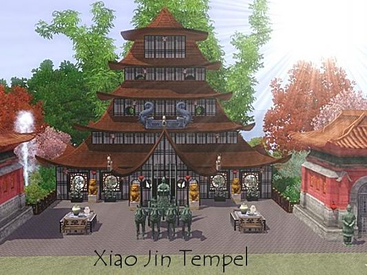 Sims 3 lot, community, temple, asian