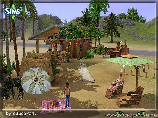 Sims 3 lot, community, strand, camping