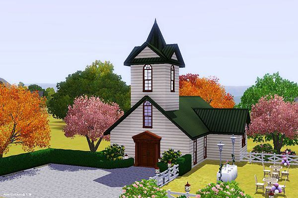 Sims 3 chapel, church, lot, community, wedding