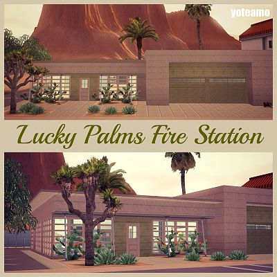 Sims 3 lot, community, fire, station