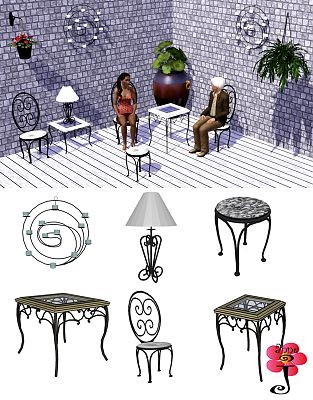Sims 3 iron, furniture, chair, wall lamp, stool