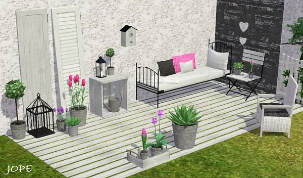 Sims 3 garden, decor, furniture, flowers