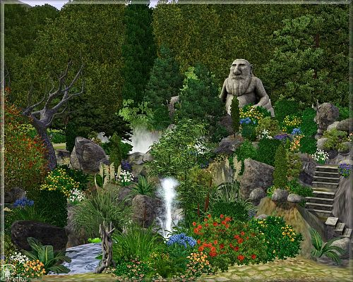 Sims 3 lot, community, garden, park, rock