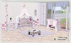 Sims 3 crib, dresser, end table, flower, tulip, veil, nursery, children