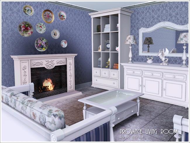 Набор мебели и декора для гостиной в стиле Прованс.  11 предметов + 1 текстильный паттерн с цветочным узором (для...