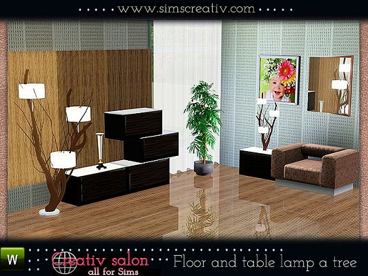 Sims 3 lamp, tree, light, lighting
