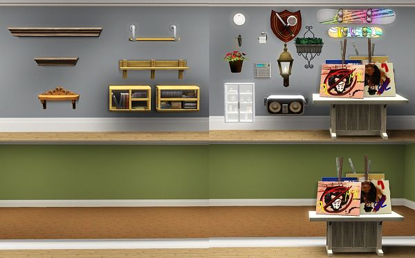 Sims 3 shelves, shift, decor, objects, sims3