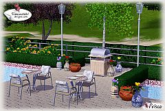 Sims 3 barbeque, table, chair, lamp, tulips, flowers and fern, plates