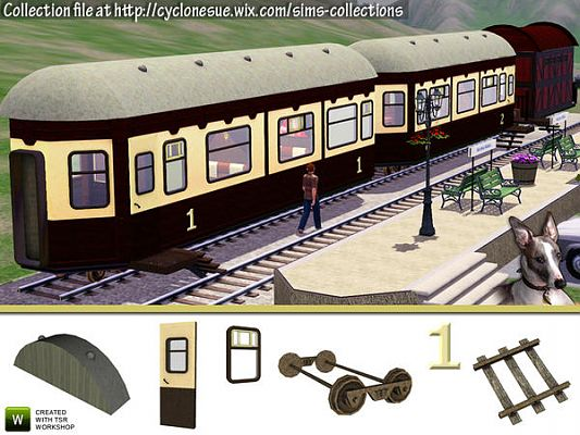 Sims 3 objects, set, construction, train