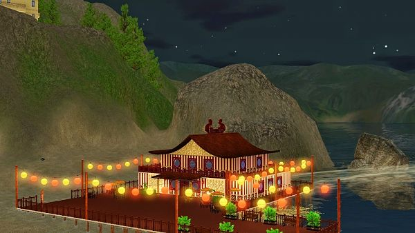Sims 3 lot, community, restaurant