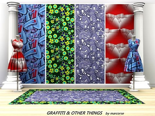 Sims 3 wall, wallpaper, decor, objects