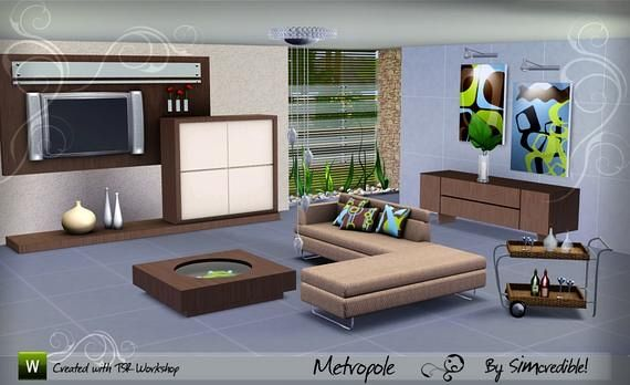 Sims 3 Living, Room, Sofa, Set, Furniture